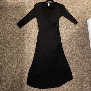 Basic high low black dress